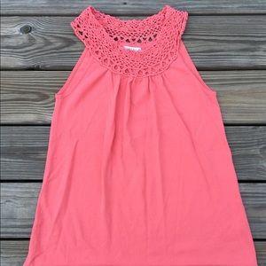 Joseph A. Pink Crochet trim halter blouse